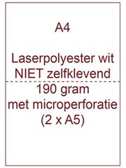 Laserpolyester mat wit NIET zelfklevend A4 190 gr ds 600 vel microperforatie (2x A5)