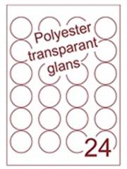 Etiket polyester Transparant glans rond ø 45mm (24) ds100vel A4 Laser (AANMAAK)