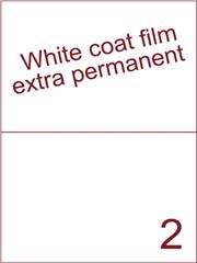 Etiket Whitecoat film wit mat 210x148,5 (=207x147,5) met ronde hoeken tussen de labels (2) ds300vel A4 (bliknummer: 161080)