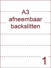 Etiket A3 wit papier afneembaar 297x420 ds 500vel met rugslitten van 29,7 cm om de 7 cm (A3/1-1 BS)