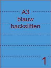 Etiket A3 BLAUW papier permanent 297x420 ds 500vel rugslitten van 29,7cm om de 7 cm (A3/1-1 BS)
