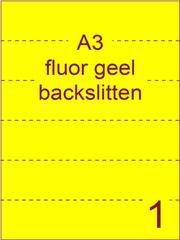 Etiket A3 fluor GEEL papier permanent 297x420 ds 500vel rugslitten van 29,7cm om de 7 cm (A3/1-1 BS)