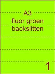 Etiket A3 fluor GROEN papier permanent 297x420 ds 500vel rugslitten van 29,7cm om de 7 cm (A3/1-1 BS)