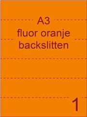 Etiket A3 fluor ORANJE papier permanent 297x420 ds 500vel rugslitten van 29,7cm om de 7 cm (A3/1-1 BS)