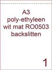 Etiket A3 poly Ethyleen wit mat 297x420 ds 50vel met 1 rugslit op 1 cm van de korte zijde (RO0503)