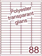 Etiket 48x12,7 (88) polyester Transparant glans ds100vel A4 (POA88-4)