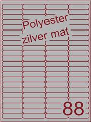 Etiket polyester aluminium zilver mat 48x12,7 (88) ds200vel A4 (POA88-4)