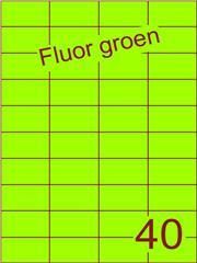 Etiket fluor groen 52,5x29,7mm (40) ds100vel A4