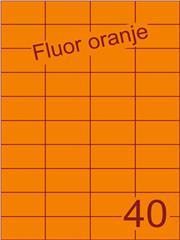 Etiket fluor oranje 52,5x29,7mm (40) ds100vel A4