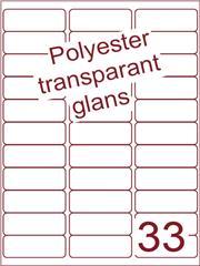 Etiket 65x25,4 (33) polyester Transparant glans ds100vel A4 (POA33-3)