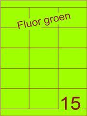 Etiket fluor groen 70x52mm (15) ds200vel A4