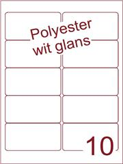 Etiket polyester wit glanzend 96x50,8 (10) ds100vel A4