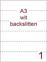 Etiket A3 wit papier permanent 297x420 ds 500vel rugslitten van 29,7cm om de 7 cm (A3/1-1 BS)
