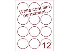 Etiket Whitecoat film wit mat rond Ø60mm (12) ds300vel A4 (WFR 3-12)