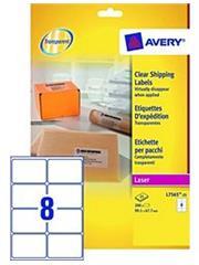 AVERY Transparante QuikPeel etiketten 99,1 x 67,7 mm, L7565 (verpakking 200 stuks)