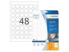 Etiket polyester wit mat AFNEEMBAAR rond30 (1) ds20vel A4 4571
