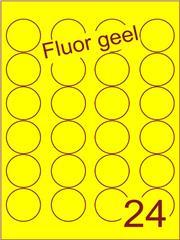 Etiket fluor geel rond ø40mm (24) ds200vel A4