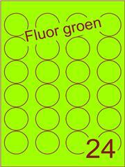 Etiket fluor groen rond ø40mm (24) ds200vel A4