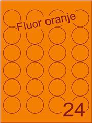 Etiket fluor oranje rond ø40mm (24) ds200vel A4