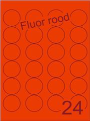 Etiket fluor rood rond ø40mm (24) ds200vel A4