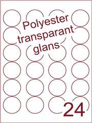 Etiket rond ø 40mm (24) polyester Transparant glans ds100vel A4 Laser (POR24-4)