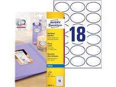 AANBIEDING Avery Zweckform inkjet gloss ovaal 63,5x42,3 pak 10 vel 180 etiketten (SC7206079)