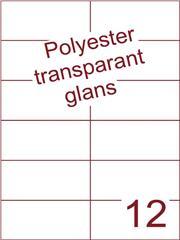 Etiket 105x49,5 (12) polyester Transparant glans ds100vel A4 (POH12-2)