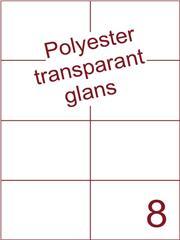 Etiket 105x74,25 (8) polyester Transparant glans ds100vel A4 (POH8-2)