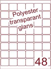 Etiket 32x32 (48) polyester Transparant glans ds100vel A4 (POA48-6)