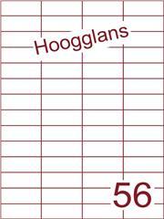 Etiket 52,5x21,2mm (56) hoogglans wit ds500vel A4 (H 56-4)