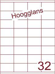 Etiket 52,5x35mm (32) hoogglans wit ds500vel A4 (HG 32-4)