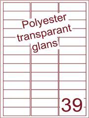 Etiket 63,5x22 (39) polyester Transparant glans ds100vel A4 (POA39-3)