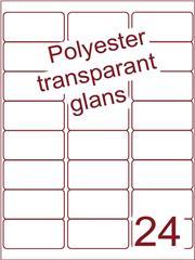 Etiket 63,5x33,9 (24) polyester Transparant glans ds100vel A4 (POA24-3)