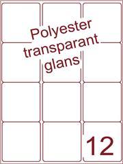 Etiket 63,5x72 (12) polyester Transparant glans ds100vel A4 (POA12-3)