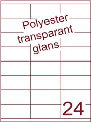 Etiket polyester Transparant glans 70x35 (24) ds100vel A4 (POHG24-3S)