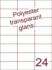 Etiket polyester Transparant glans 70x37,1 (24) ds100vel A4 (POH24-3H)