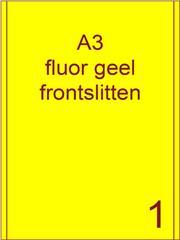 Etiket A3 fluor GEEL papier permanent 287x420 ds 500vel 2 frontslitlijnen op 5 mm van de lange zijde (A3/1-1 FS)