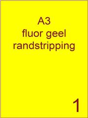 Etiket A3 fluor GEEL papier permanent 297x420 ds 500vel randstripping 2 mm (A3/1-1 RS)