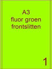 Etiket A3 fluor GROEN papier permanent 287x420 ds 500vel 2 frontslitlijnen op 5 mm van de lange zijde (A3/1-1 FS)