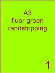 Etiket A3 fluor GROEN papier permanent 297x420 ds 500vel randstripping 2 mm (A3/1-1 RS)