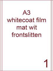 Etiket A3 whitecoat Film wit mat 287x420 dsds300vel 2 frontslitlijnen op 5 mm van de lange zijde (A3/1-1 FS)
