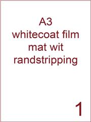 Etiket A3 whitecoat Film wit mat 297x420 ds300vel randstripping 2 mm (A3/1-1 RS)