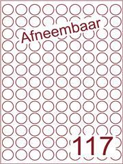 Etiket A4 afneembaar wit rond ø19mm (117) ds600vel A4 (R117-9)