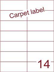 Etiket carpetlabel wit 105x42,4 (14) ds1000vel A4 (H14-2)
