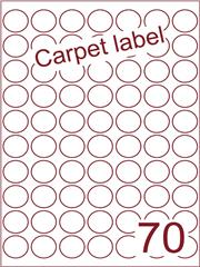 Etiket carpetlabel wit rond ø25mm (70) ds1000vel A4