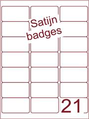 Etiket satijn voor badges 63,5x38,1mm (21) ds125vel A4 (BSA 21-3)