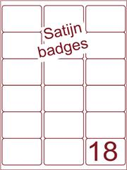 Etiket satijn voor badges 63,5x46,6mm (18) ds125vel A4