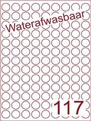 Etiket waterafwasbaar rond Ø19mm (117) ds500vel A4 (R117-9)