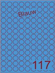 Etiket blauw rond ø19mm (117) ds200vel A4