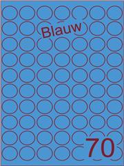 Etiket blauw rond ø25mm (70) ds200vel A4